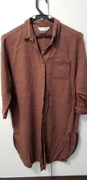 涼しい麻入りシャツ★ブラウン