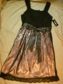 新品☆21号3L♪W88♪黒×シャンパンピンクのパーティワンピース☆n112