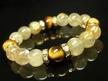 タイガーアイ&タイチンルチルブレスレット 10ミリ数珠 金運を上げるパワーストーン