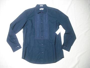 99 男 CK CALVIN KLEIN カルバンクライン 紺 長袖シャツ Mサイズ