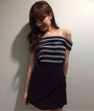 即完売★rienda リエンダ★カラーラップJ/Wスカート ブラック/M 新品タグ付未開封