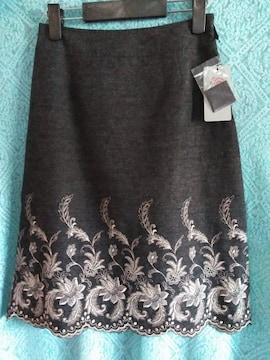 新品レディース 61 サイズ@aichakushiyoツイード裾刺繍スカート秋物