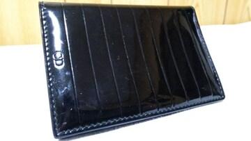 正規 ディオールオム CDロゴ×ストライプライン エナメルカードケース黒 パテントブラックレザー
