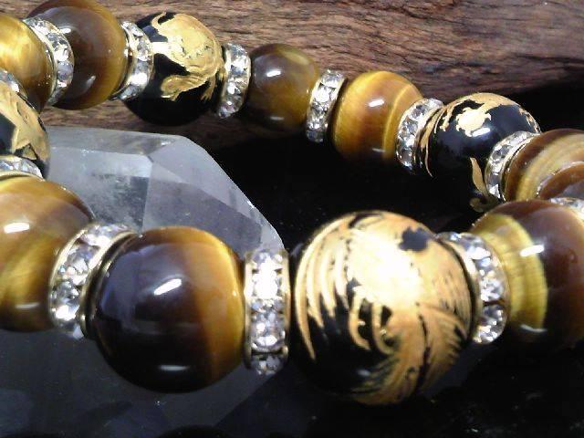 金四神獣オニキス14ミリ§タイガーアイ12ミリ金ロンデル数珠 < 男性アクセサリー/時計の