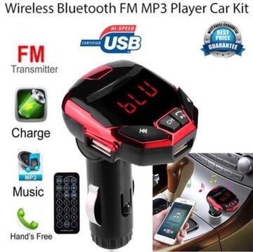 高音質 Bluetooth FMトランスミッター ハンズフリースマホ 赤色