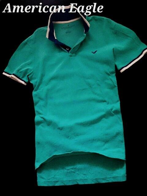 【アメリカンイーグル】Vintage Slim Fit ポロシャツ L/Turquoise < ブランドの