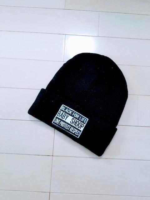 新品◆baby shoop◆ロゴ刺繍ワッペンニット帽 黒◆シュープ帽子  < ブランドの