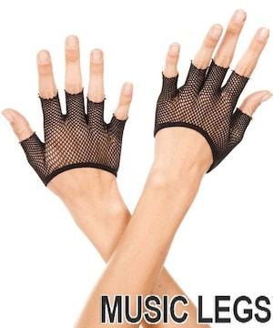 8A4)MusicLegsフィッシュネットショートグローブ黒ブラックダンス衣装衣装ダンサー手袋
