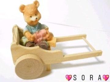 可愛い木製&樹脂製♪カントリーくまさん《コロコロと動く荷車》�U