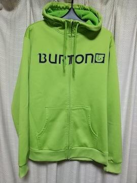 バートンBURTON裏フリースビッグロゴ刺繍ジップアップパーカーLサイズ緑スノーボード服