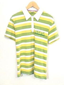 55DSL■ボーダーポロシャツ■ロゴ■ディーゼル■黄緑白