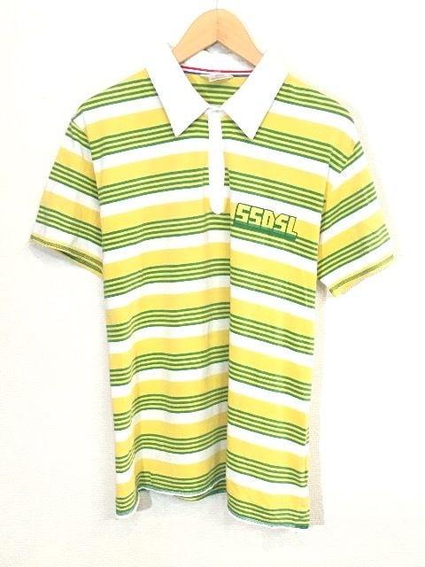 55DSL■ボーダーポロシャツ■ロゴ■ディーゼル■黄緑白  < ブランドの