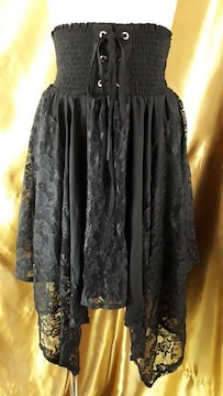 ★CRYX★編み上げ&レースアシンメトリースカート★黒★