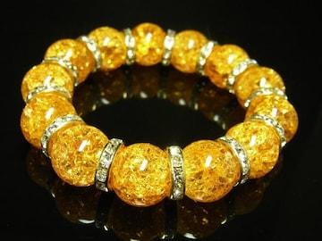 事業の成功をサポート シトリンクラックブレスレット 14mm天然石数珠