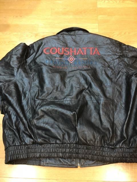 オールレザージャケット  黒本革  size3XL  ロゴ刺繍  used < 男性ファッションの