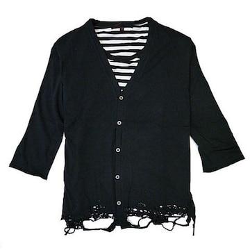 裾クラッシュ7分袖カーデXボーダーTシャツ ブラック M