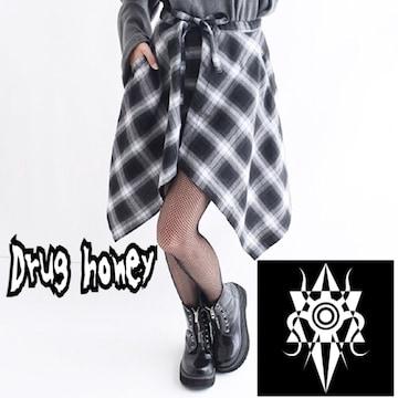 【新品/Drug honey】シャドーチェック柄フラップスカート