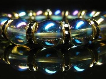 運気が上がる天然石数珠 ブルーオーラ12mmブレスレット 開運石