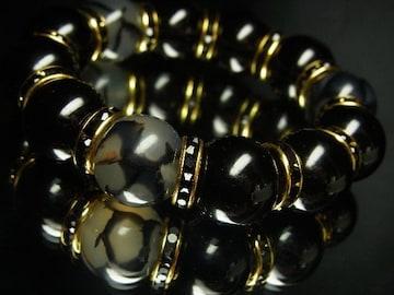 龍紋石ドラゴンアゲート×黒瑪瑙ブラックオニキス数珠ブレス