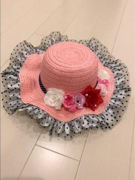ピンクに白黒チュールフリルパール薔薇可愛い麦わら女優帽子