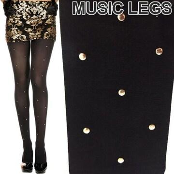 A654)MusicLegsゴールデンスタッズ付タイツストッキング黒ゴールドパーティーダンス衣装