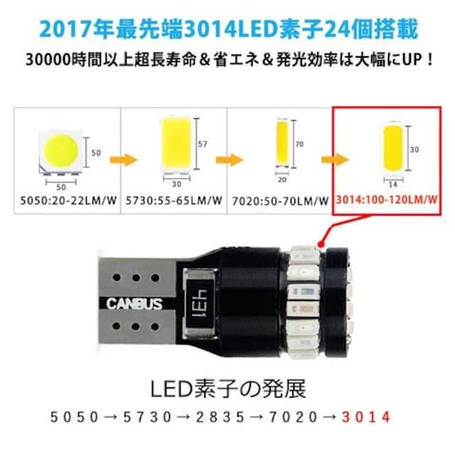 T10 LED ブルー 青 爆光 2個入り < 自動車/バイク