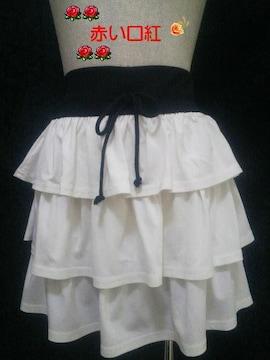 M〜Lサイズ*ラメティアードミニスカートホワイト