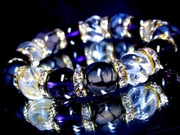ドラゴンアゲート黒龍紋§アメジスト§スクリュー螺旋水晶12ミリ§金ロンデル