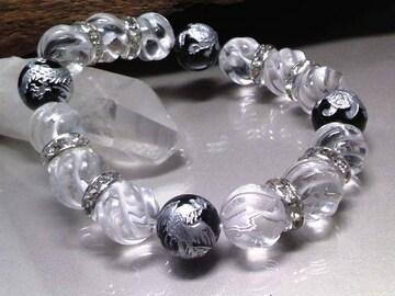 銀四神獣オニキス12ミリトルネード水晶12ミリ数珠