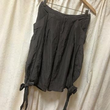ENCHANTEMENT シルク混ハーフパンツ 裾リボン絹アンシャントマン