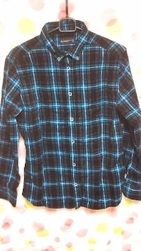 新品 メンズチェックシャツ(M)黒×青×白×グレー