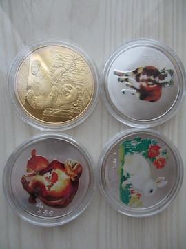 入手困難!中国干支カラー銀貨の卯未申3種とパンダ金貨