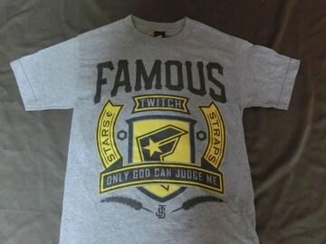 USA購入【FamousStars&Straps】ロゴプリントTシャツ US S グレー