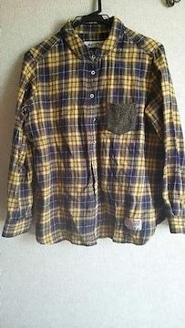 ハリスツィード★茶色チェックシャツ★Lsize