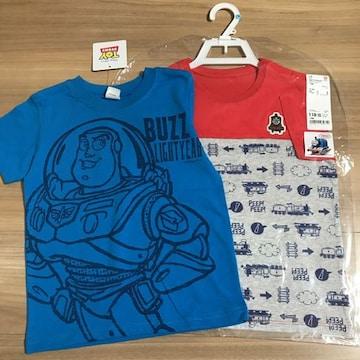 新品110半袖Tシャツ2枚セット ディズニーバズトーマス�B
