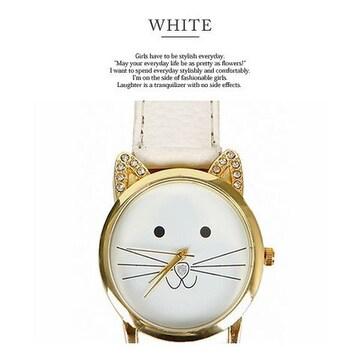 ラインストーン耳デザイン&猫絵腕時計PUレザーベルトWT
