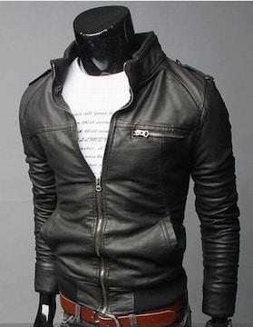 新トレンドファッション スリム レザージャケット 革ジャン 黒