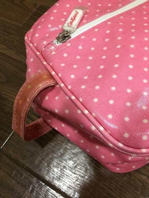 キャスキッドソン ピンク水玉 ビニールコーティング シューズ鞄 < ブランドの