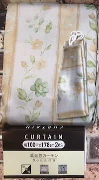 アジャスターフック&タッセル付遮光性カーテン(花柄C)2枚組