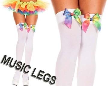A172)MusicLegsレインボーリボンオペークサイハイタイツ白ダンサーダンス衣装B系パーティー